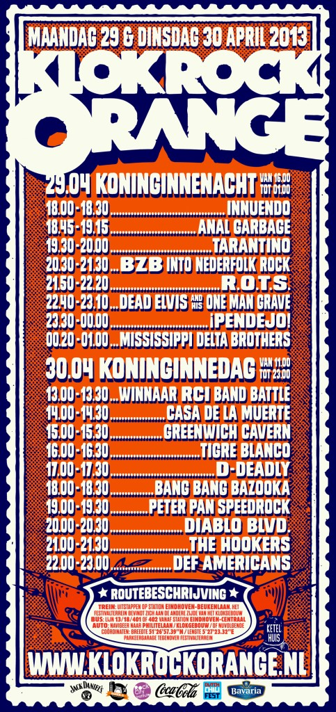 Klok Rock Orange time table