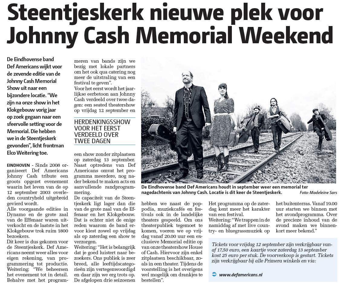Johnny Cash memorial event 2014 in de krant